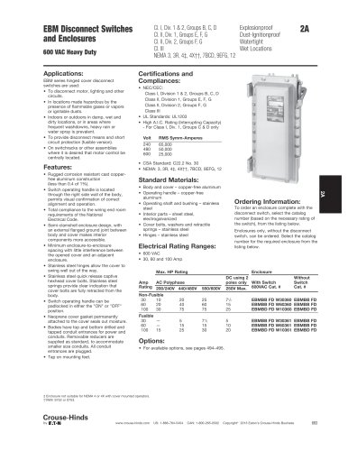 EBM Series Explosionproof Disconnect Switches