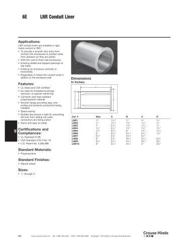 Enclosure Accessories - Conduit Liners
