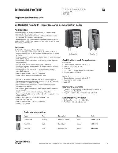 Ex-ResistTel, FernTel IP Hazardous Area Telephones
