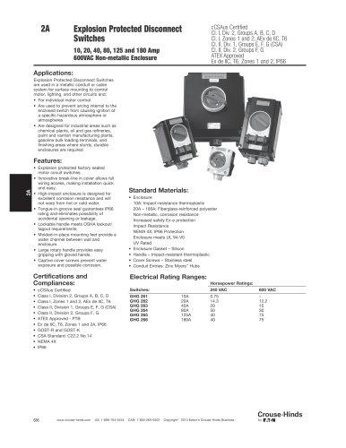 GHG26 Series Explosion Protected Disconnect Switches