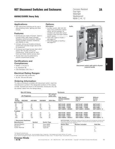 NST Series Non-metallic Disconnect Switches