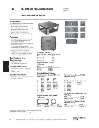 RS, RSM and RSS Series Junction Boxes