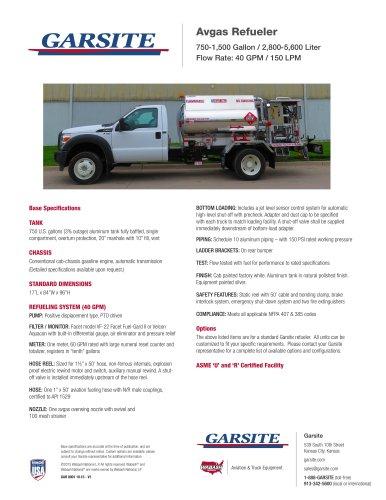Avgas Refueler 750-1,500 Gallon / 2,800-5,600 Liter