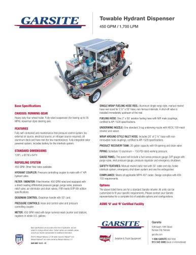 Towable Hydrant Dispenser 450 GPM / 1,700 LPM