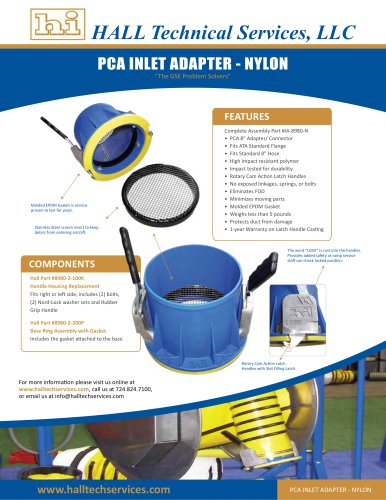 PCA INLET ADAPTER , NYLON