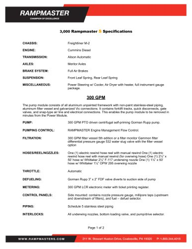 3,000 Rampmaster S Specifications