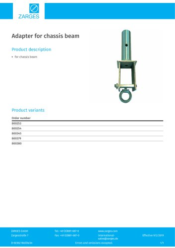 Adapter for chassis beam