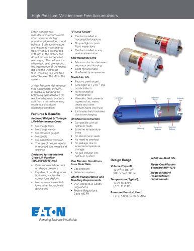 High Pressure Maintenance-Free Accumulators