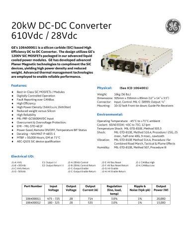 20kW DC-DC Converter 610Vdc / 28Vdc