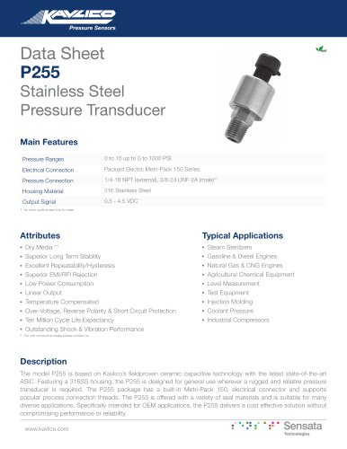 P255 Stainless Steel Pressure Transducer
