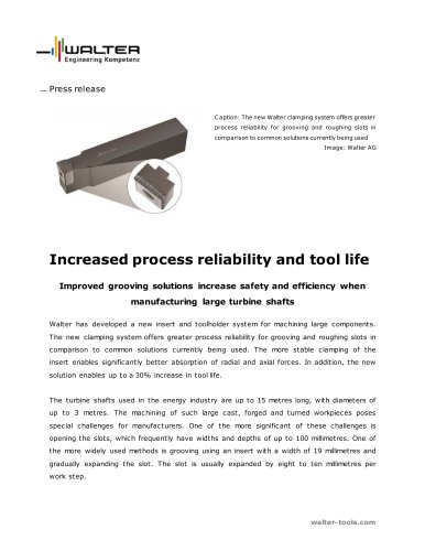 Improved grooving solutions increase safety and efficiency when manufacturing large turbine shafts