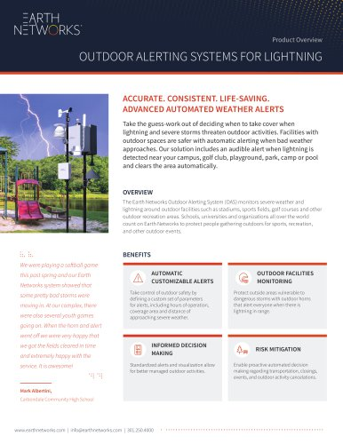 Product Overview: Outdoor Alerting Systems For Lightning