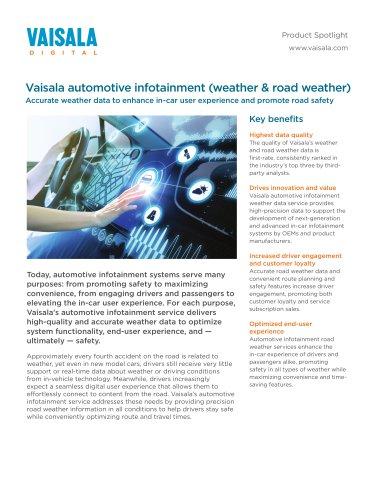 Vaisala automotive infotainment (weather & road weather)