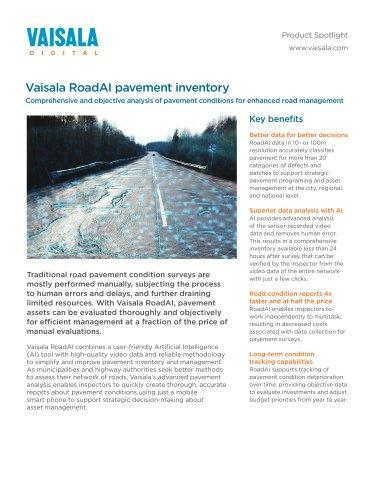 Vaisala RoadAI pavement inventory