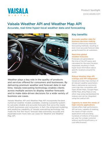 Vaisala Weather API and Weather Map API