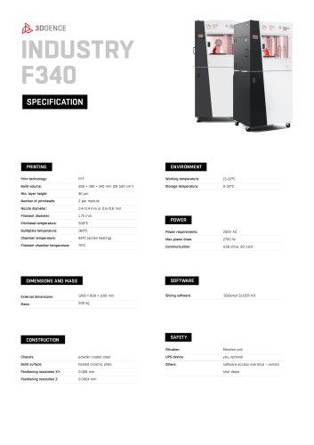 INDUSTRY F340 SPECIFICATION