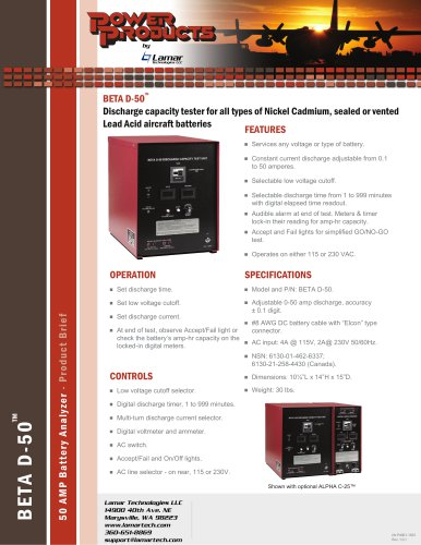 Discharge capacity tester for all types of Nickel Cadmium, sealed or vented Lead Acid aircraft batteries