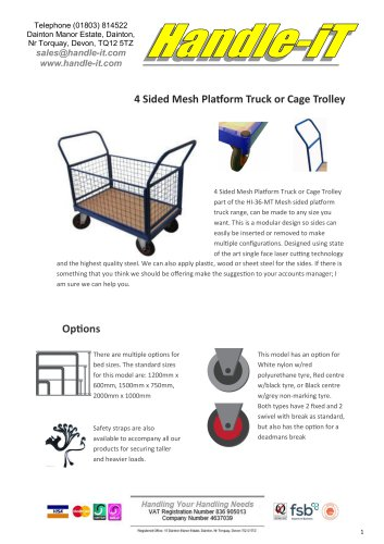 Sided Mesh Platform Truck or Cage Trolley