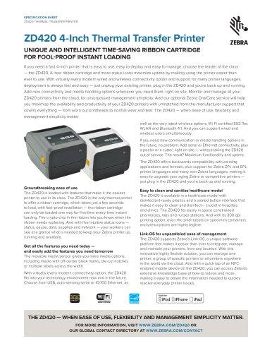 ZD420 4-Inch Thermal Transfer Printer