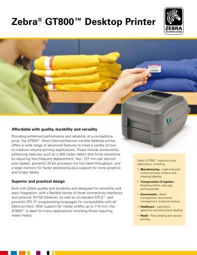 Zebra® GT800™ Desktop Printer