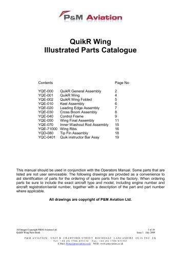QuikR Wing Illustrated Parts Catalogue