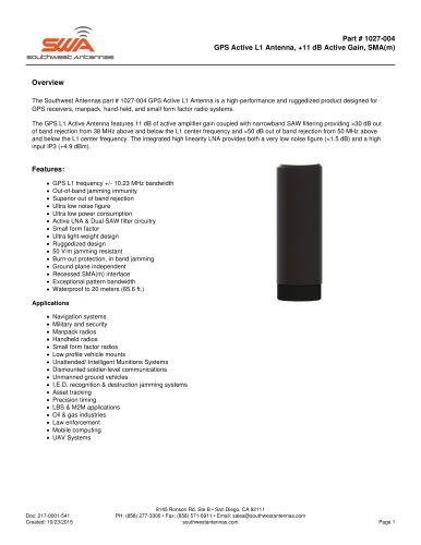 GPS Active L1 Antenna, +11 dB Active Gain, SMA(m)