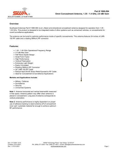 Omni Concealment Antenna, 1.35 - 1.4 GHz, 2.0 dBi Gain