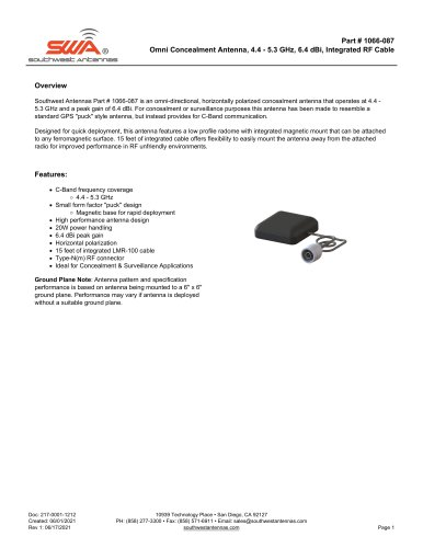Omni Concealment Antenna, 4.4 - 5.3 GHz, 6.4 dBi, Integrated RF Cable