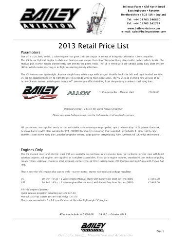 October 2013 Retail Price List ver1
