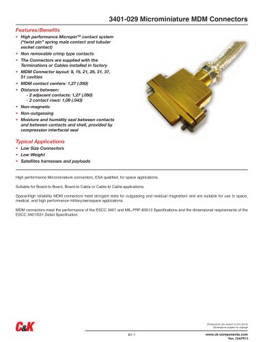 3401-029 Microminiature MDM Connectors