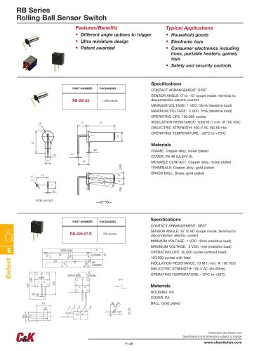 RB Series Rolling Ball Sensor Switch