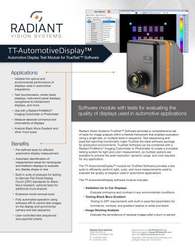 TT-AutomotiveDisplay™ Automotive Display Test Software